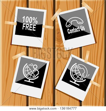 4 images: 100% free, contact us, globe and gears, and handset. Business set. Photo frames on wooden desk. Vector icons.