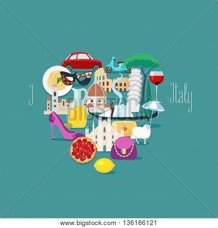 I love Italy concept vector illustration, design element. Italian icons set - pizza, wine, pasta, Pisa tower, Colosseum, etc. Hand drawn letering for Italy
