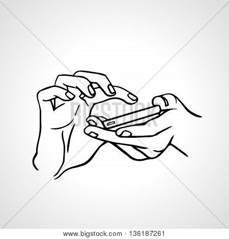 Typing text message on smartphone. Hands with phone outline illustration. Eps 8