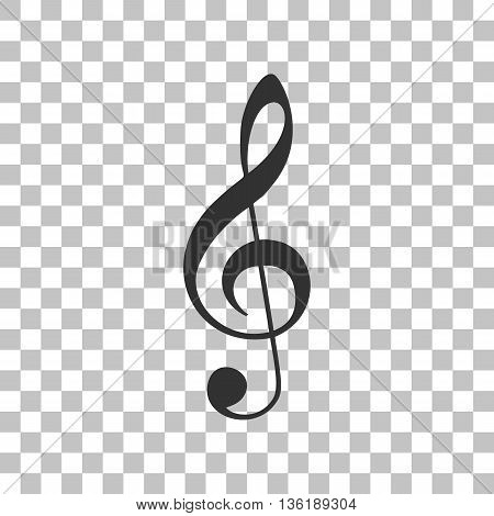 Music clef sign. G-clef. Treble clef. Dark gray icon on transparent background.