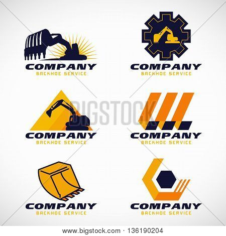 Yellow and dark blue Backhoe service logo vector set design