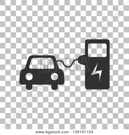 Electric car battery charging sign. Dark gray icon on transparent background.