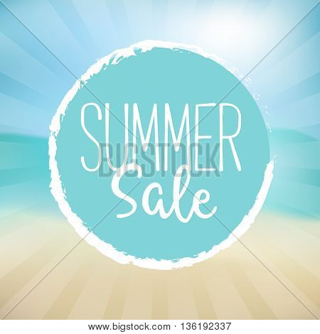 Summer Sale Vector Illustration. Text on a Blue Badge and a Beach Background.