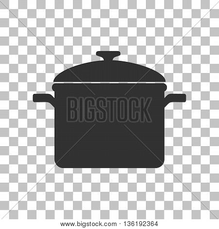 Cooking pan sign. Dark gray icon on transparent background.