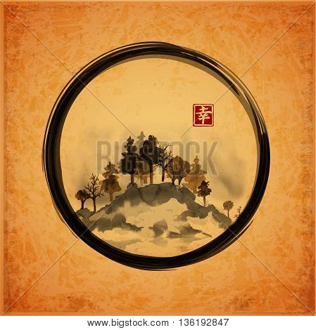 Island with trees in black enso zen circle on vintage background. Traditional Japanese ink painting sumi-e. Vector illustration. Contains hieroglyph - happiness.