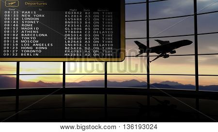3D rendering illustration of departures digital timetable against of evening sky with flying aircraft