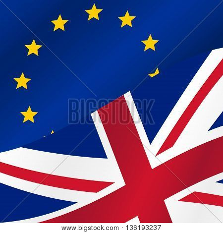 Color European Union And United Kingdom Flags Half Eps10