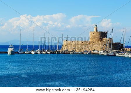 Fort of St. Nicholas and Lighthouse in Mandaki Harbor, Rhodes
