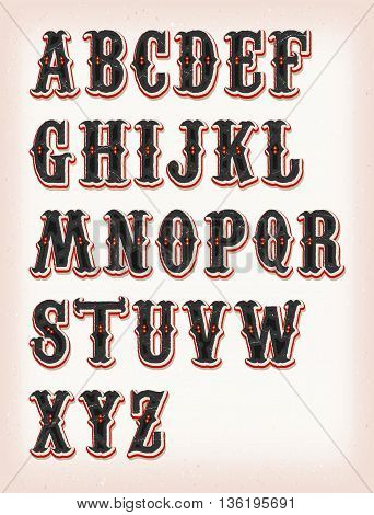 Illustration of a set of retro circus abc typefont on vintage and grunge background
