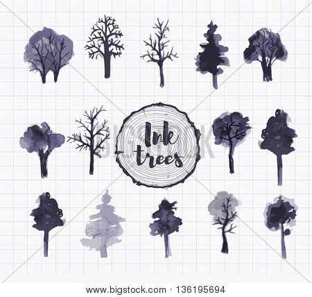 Set of trees hand drawn with ink in Japanese sumi-e style. Vector illustration.