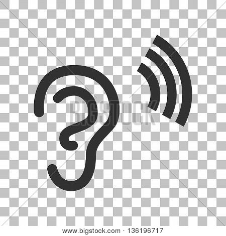 Human ear sign. Dark gray icon on transparent background.
