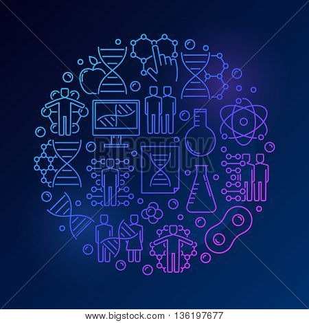 Biochemistry and DNA illustration. Vector bright round genetics and round sign made with linear icons on dakr blue background