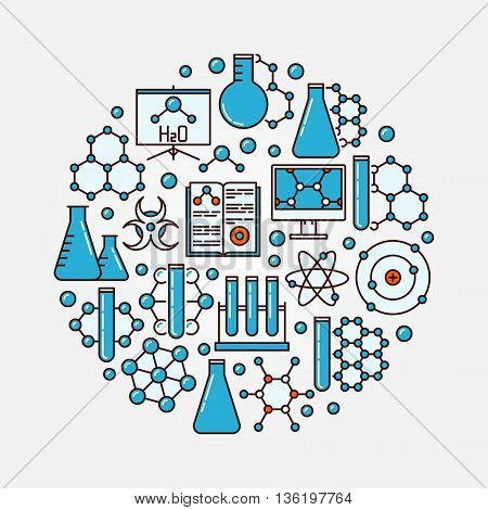 Chemistry flat illustration. Round colorful science symbol made of blue chemistry icons