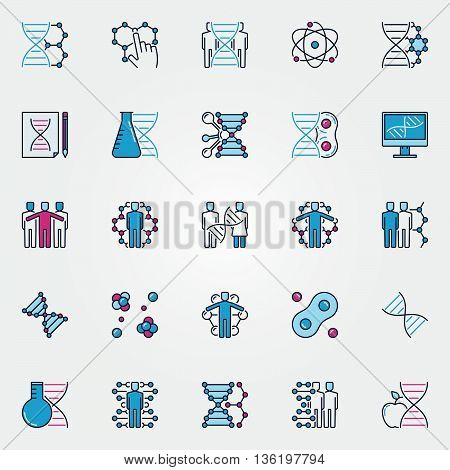 Colorful bio-tech icons. Vector flat human cloning and DNA signs. Biotechnology and genetic concept symbols
