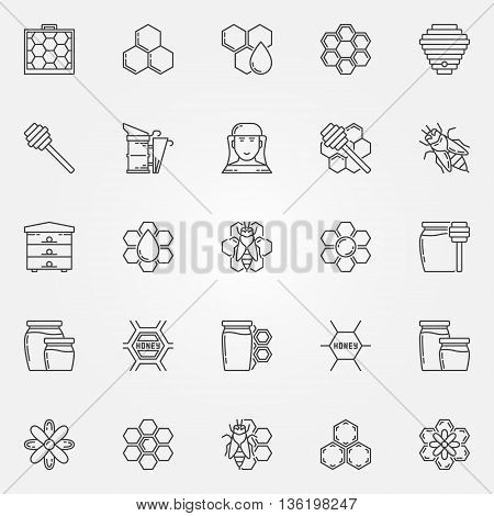 Honey and beekeeping icons set. Vector collection of apiary linear symbols. Beekeeping thin line signs or logo elements