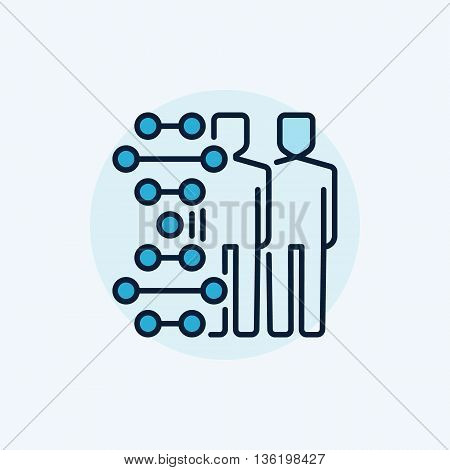 Human cloning flat icon. Vector colorful clone or cloning symbol. Humans with DNA concept sign on blue background