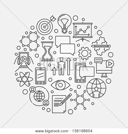 Linear innovation concept outline illustration. Vector round thin line innovative ideas symbol or sign