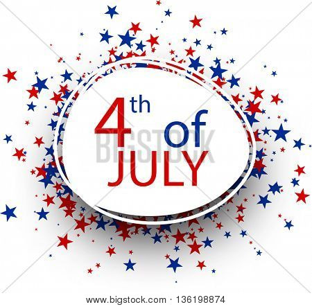 Oval 4th of July Independence Day background. Vector paper illustration.