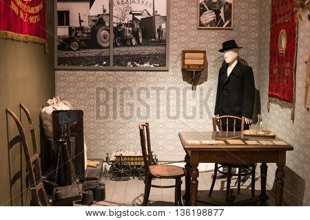 Budapest, Hungary - July 08, 2015: exhibition area in communism style in Hungarian National Museum
