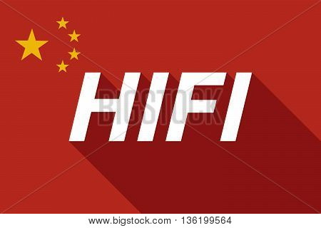 Long Shadow China Flag With    The Text Hifi