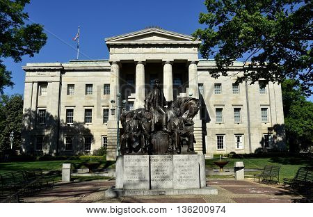 Raleigh North Carolina - April 18 2016: The North Carolina State House wth the Three Presidents (Polk, Jackson, and Johnson) Sculpture