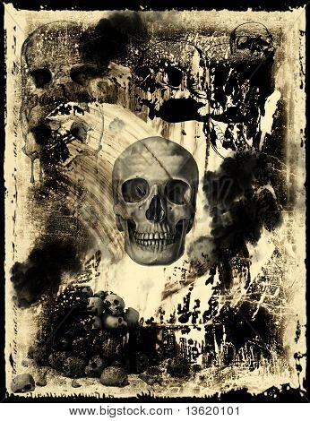 Old paper with skull