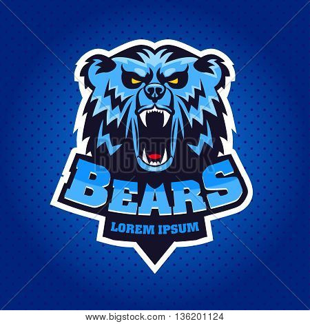Bear Head Logo Mascot Emblem on shield. Talisman college sports teams e-sport school logo tattoo avatar print t-shirt. The design of the character of a wild grizzly. Vector illustration.