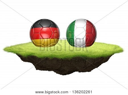 Germany vs Italy team balls for football championship tournament, 3D rendering