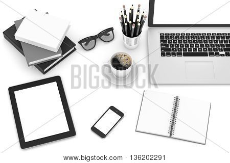 Office workplace set on white table. Pc, tablet, smartphone, notebook, stationery, glasses, cup of coffee.3d rendering.
