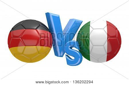 Football competition between national teams Germany and Italy, 3D rendering