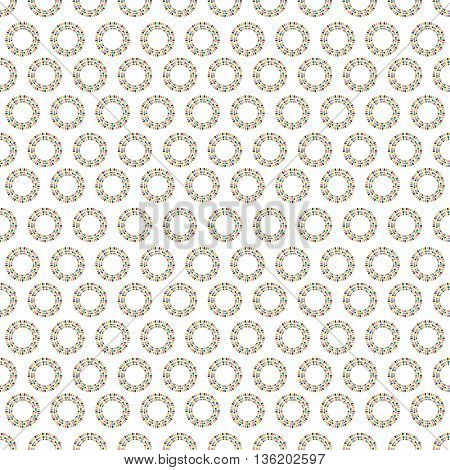 The colored abstract seamless pattern with circles of party flags on white background. Vector illustration.