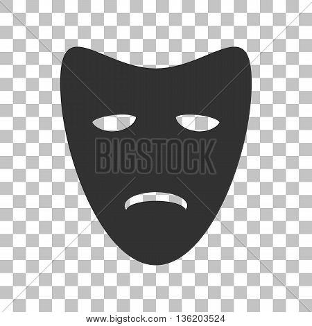 Tragedy theatrical masks. Dark gray icon on transparent background.