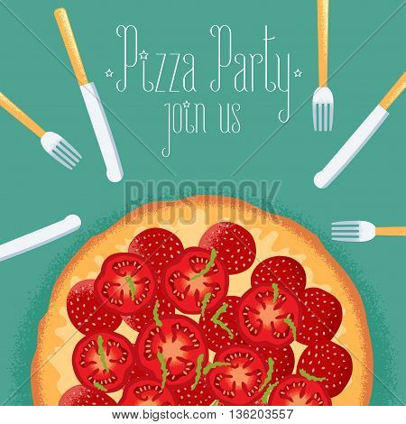 Italian pizza party invitation, celebration image. Design element with pizza, fork and knife for flyer, poster, greeting card