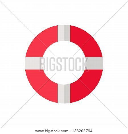Vector illustration of a red white lifeline lifebuoy on white background