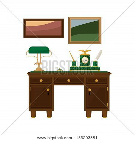 Antique Wooden Home Office Desk Flat Bright Color Vector Illustration On White Background