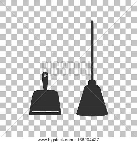 Dustpan vector sign. Scoop for cleaning garbage housework dustpan equipment. Dark gray icon on transparent background.