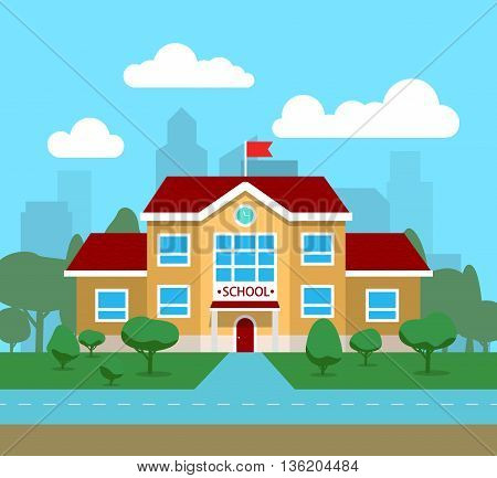 Vector illustration of school building, for poster or banner, etc.