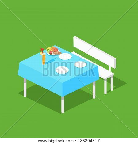 Picnic isometric table with dishes flat design concept. Table with food, white plate with meal for dinner or lunch, nutrition dining on tablecloth and breakfast taste eating. Vector illustration