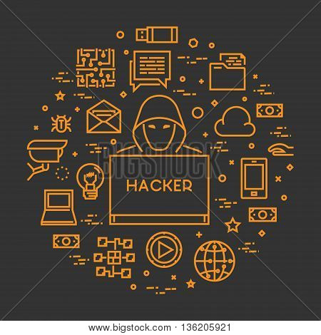 Vector concept hackers and cyber criminals online. Concept of hacking and internet crimes. Open path.