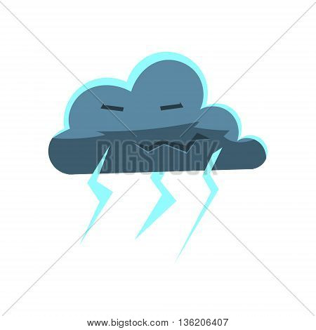 Cloud With Lightening Bolts Cute Childish Style Bright Color Design Icon Isolated On White Background