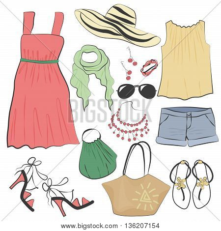 Fashion casual woman summer dress clothes and accessories collection set