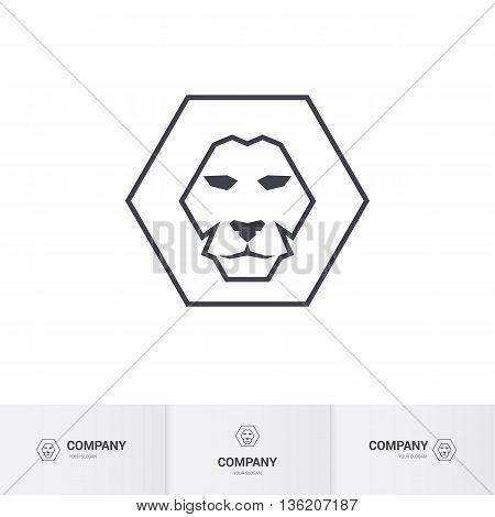 Lion Head for Heraldic or Mascot Design on White Background for Design