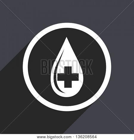 Flat design gray web blood vector icon