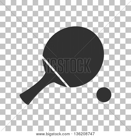 Ping pong paddle with ball. Dark gray icon on transparent background.