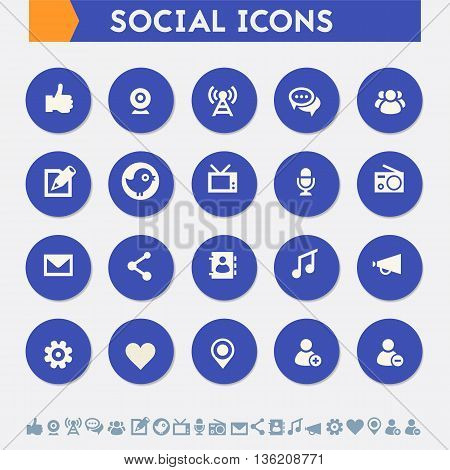 Modern flat design material social icons collection