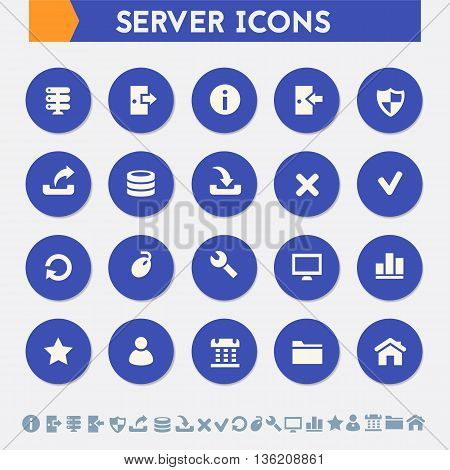 Modern flat design material server icons collection