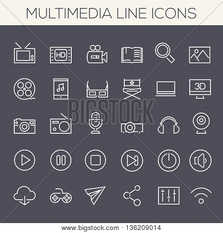 Thin line multimedia icons on colored squares