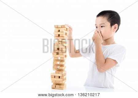 Boy Play Wooden Block Tower