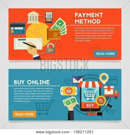 Payment Methods and Online Shopping concept banners. Flat style vector illustration online web banners