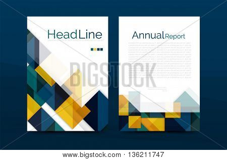A4 front page business identity for annual report, Corporate brochure leaflet and abstract geometric background with headline